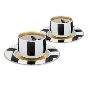 Vista Alegre Sol Y Sombra Set 2 Coffee Cup and Saucers