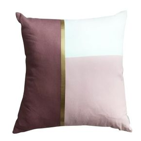 Harriet and Co Sarung Bantal Colour Block Gold Blush x Dusty Rose