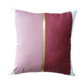 Harriet and Co Sarung Bantal Colour Block Gold Blush x Terracotta