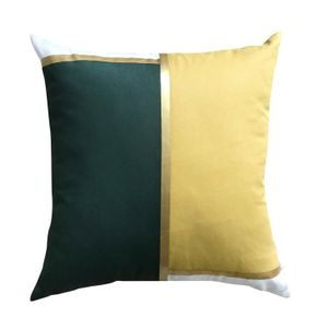 Harriet and Co Sarung Bantal Colour Block Gold Pine Green x Mustard