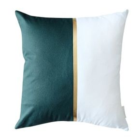 Harriet and Co Sarung Bantal Colour Block Gold Pine Green